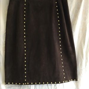 Chocolate Suede studded skirt